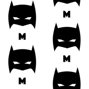 Superhero Bat Mask Initial M Black and White