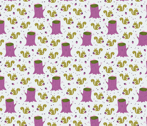 Squirrels in the winter forest fabric by heleen_vd_thillart on Spoonflower - custom fabric
