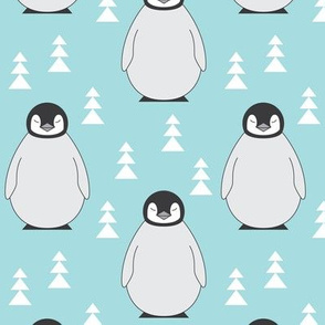 penguins with triangle-trees-on-soft blue