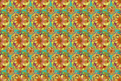 GOLD FLOWER  MANDALA TURQUOISE RAIN BUBBLES fabric by paysmage on Spoonflower - custom fabric