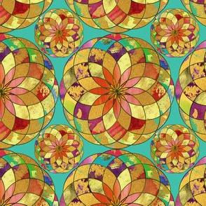 GOLD FLOWER  MANDALA TURQUOISE RAIN BUBBLES