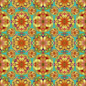 GOLD FLOWER MANDALA TURQUOISE RAIN BUBBLES VARIATION TILES