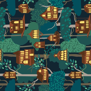 Tree Houses - tea towel