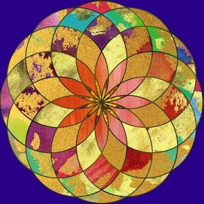 GOLD FLOWER MANDALA Deep Purple Blue