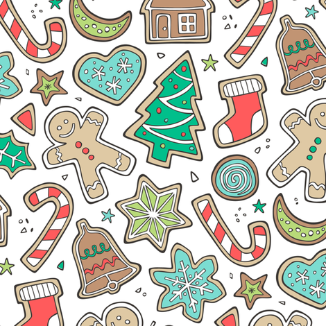 Christmas Xmas Holiday Gingerbread Man Cookies Winter Candy Treats on White fabric by caja_design on Spoonflower - custom fabric