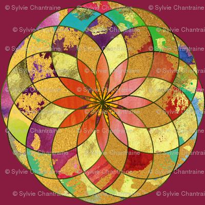 GOLD FLOWER MANDALA BURGUNDY ROSEWOOD