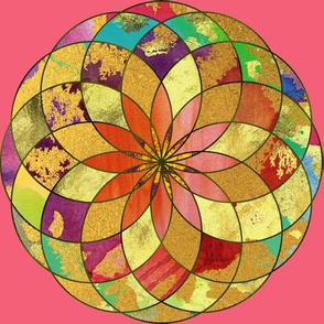 GOLD FLOWER MANDALA PINK