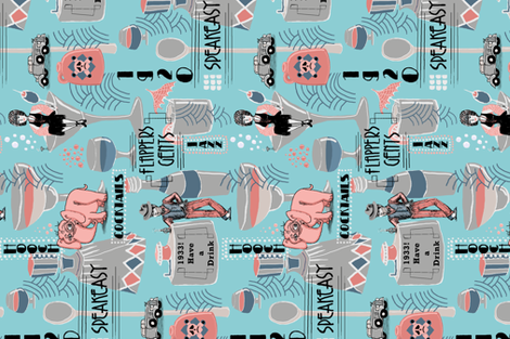 prohibition era, cocktails, anyone? crosswise version, blue coral pink gray turquoise aqua fabric by amy_g on Spoonflower - custom fabric