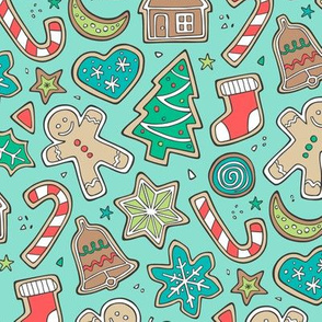 Christmas Xmas Holiday Gingerbread Man Cookies Winter Candy Treats on Mint Green
