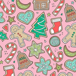 Christmas Xmas Holiday Gingerbread Man Cookies Winter Candy Treats on Pink