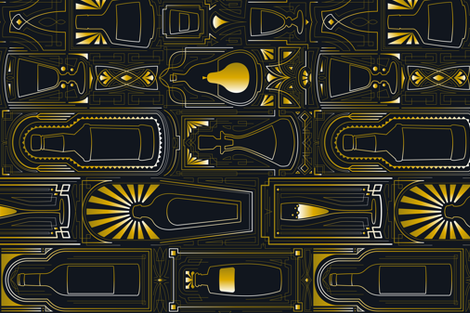Bottles & Glasses *SpeakEasy Style fabric by juliesfabrics on Spoonflower - custom fabric