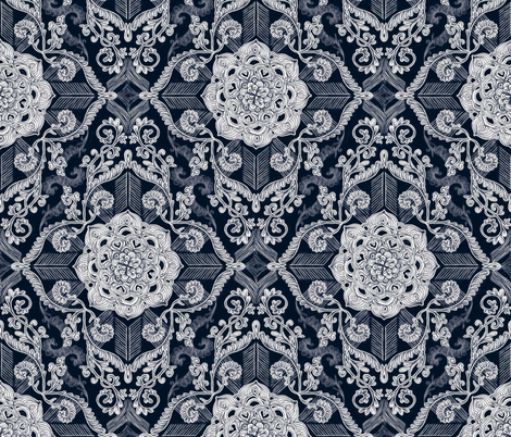 Centered lace doodle in dark navy indigo fabric by micklyn on Spoonflower - custom fabric