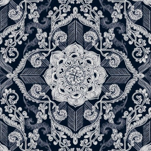Centered lace doodle in dark navy indigo