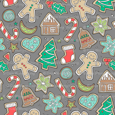 Christmas Xmas Holiday Gingerbread Man Cookies Winter Candy Treats on Dark Grey