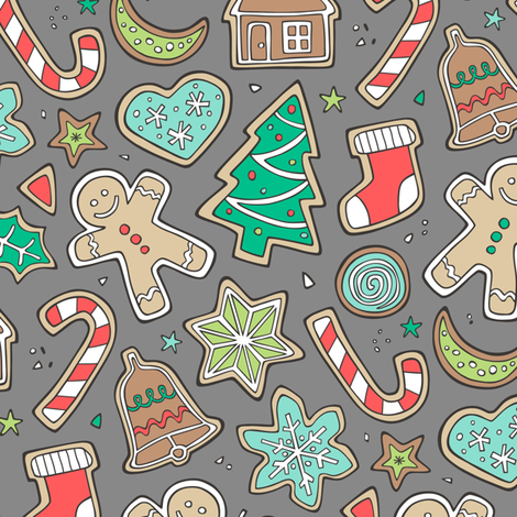 Christmas Xmas Holiday Gingerbread Man Cookies Winter Candy Treats on Dark Grey fabric by caja_design on Spoonflower - custom fabric