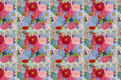 Painted Garden- Spring Bouquet Burst fabric by cynthiafrenette on Spoonflower - custom fabric