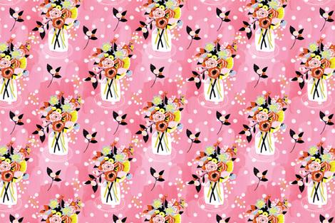 Painted Garden- Mason Jar Bouquet fabric by cynthiafrenette on Spoonflower - custom fabric