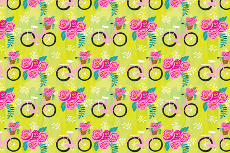 Painted Garden- Summertime Bikes fabric by cynthiafrenette on Spoonflower - custom fabric