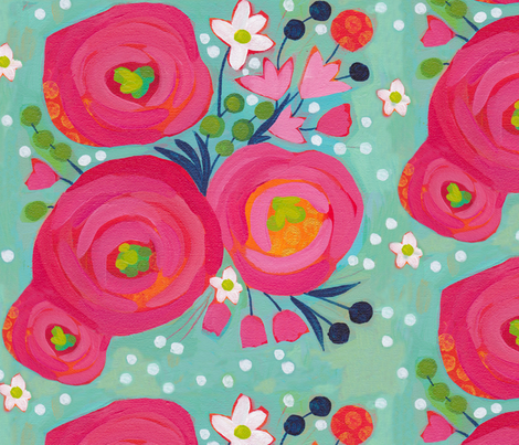 Painted Garden- Posie fabric by cynthiafrenette on Spoonflower - custom fabric
