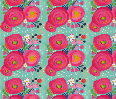 Painted Garden- Posie Posie fabric by cynthiafrenette on Spoonflower - custom fabric