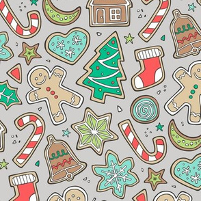 Christmas Xmas Holiday Gingerbread Man Cookies Winter Candy Treats on Grey