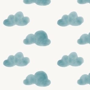 watercolor clouds - indigo blue on white || by sunny afternoon