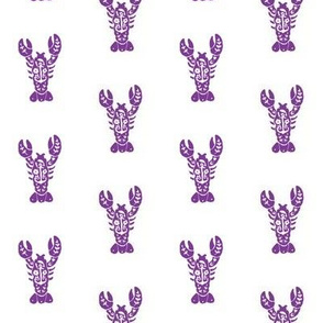 Lobster Block Print - Purple