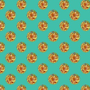 GOLD FLOWER MANDALA Small Dots TURQUOISE