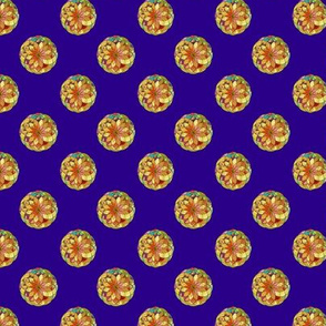 GOLD FLOWER MANDALA Deep Purple Blue Small Dots