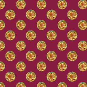 GOLD FLOWER MANDALA BURGUNDY ROSEWOOD Smaill dots