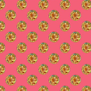 GOLD FLOWER  MANDALA PINK  Small dots