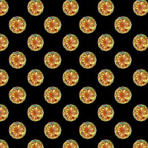 GOLD FLOWER MANDALA BLACK small dots