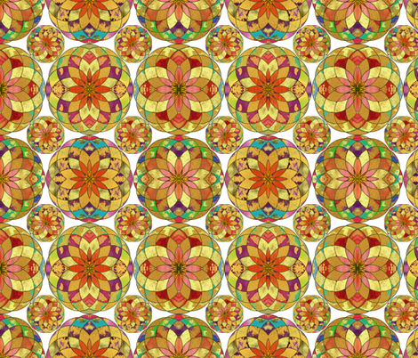 GOLD FLOWER MANDALA WHITE RAIN BUBBLES GEOMETRY TILES fabric by paysmage on Spoonflower - custom fabric