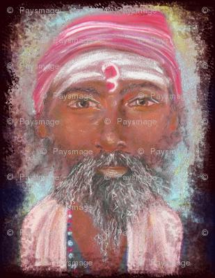 INDIAN SADHU PORTRAIT CHALK PASTEL DRAWING FACE