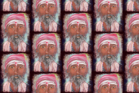 INDIAN SADHU PORTRAIT CHALK PASTEL DRAWING FACE fabric by paysmage on Spoonflower - custom fabric