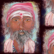 INDIAN SADHU PORTRAIT CHALK PASTEL DRAWING FACE