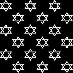 One Inch White Star of David on Black