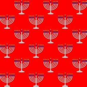One Inch Matte Silver and Blue Menorahs on Red