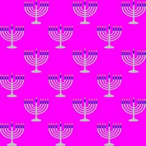 One Inch Matte Silver and Blue Menorahs on Magenta Pink