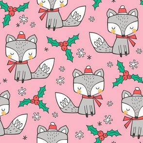 Winter Christmas Xmas Holidays Fox With snowflakes , hats  beanies,scarf  on Pink