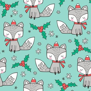 Winter Christmas Xmas Holidays Fox With snowflakes , hats  beanies,scarf  on Mint Green