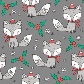 Winter Christmas Xmas Holidays Fox With snowflakes , hats  beanies,scarf  on Dark Grey
