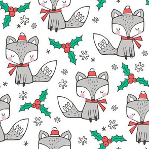 Winter Christmas Xmas Holidays Fox With snowflakes , hats  beanies,scarf  on White
