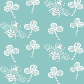 Clover and Bee on Robins Egg Blue