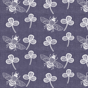 Clover and Bee on Dark Chambray