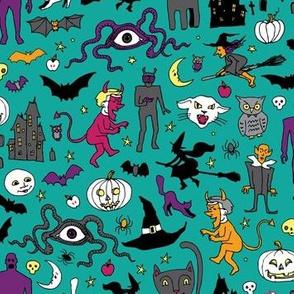 Retro Halloween - turquoise multi