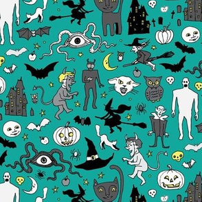 Retro Halloween - teal and grey