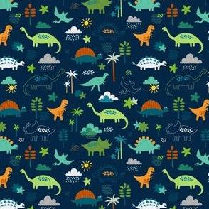 Dinosaur Land - green, navy and rust - very small