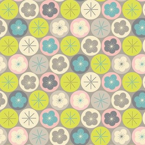 cherry blossom dot - gray small