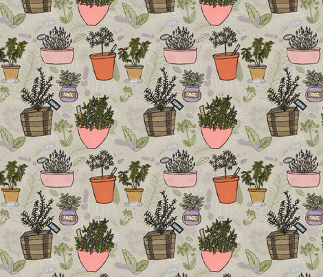 Herb Garden  fabric by katievaz on Spoonflower - custom fabric